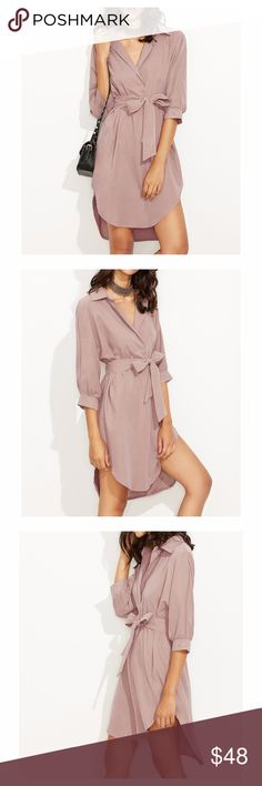 Dusty Pink 3/4 Sleeve Curved Hem Shirt Dress DESCRIPTION - V Neckline - 3/4 Sleeve - Shirt Dress - Self Tie at waist - Curved Hem - Shift Silhouette - Fabric has no stretch - Faux Suede, Polyester - Season: Fall/Winter  STYLING TIPS: - Undergarments: Wear it with your favorite lingerie. - Jewelry: Wear this dress with a slim short necklace for a delicate look. - Shoes: Black sandals are always a good idea.  cute homecoming party cocktail wedding guest evening girls night out graduation date…
