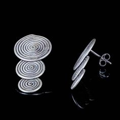 Triple Spiral Silver stud earrings, 925 Tribal ear studs, african style earrings, ethnic spiral earrings, unusual ear studs, 925 silver SE60 African Style, African Fashion, Ear Studs, 925 Silver, Ethnic, Stud Earrings, Pure Products, Jewellery, Spirals