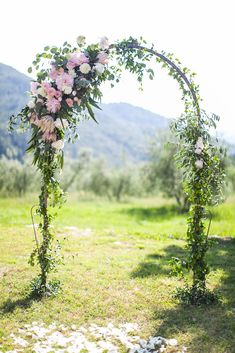 Wedding Alter under the Tuscan sun! A variety of pink and white protea, peonies, and roses are arranged along this romantic country arch Pink Green Wedding, Wedding Colors, Wedding Flowers, Wedding Ceremony, Wedding Day, Summer Wedding, Arch Flowers, Under The Tuscan Sun, Tuscan Wedding