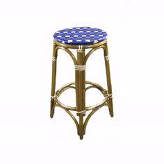 French Bistro Stool, HK-39 , weave Harlequin, Colors: true blue,sky blue, beige & bronze. Wood finish: light honey. #french #bistrochair #bistrochairs #homedecor #rattan #handmadefurniture #french #interior #exterior #interiordesign #custom #frenchbistro #kitchendesign #wahoodesigns #frenchcafe #madeforyou Blue Wood, Gold Wood, White Wood, French Interior, Interior Design, French Bistro Chairs, Parisian Cafe, French Cafe, Kids Seating