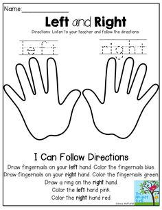 Learning LEFT and RIGHT hands and following directions! first week of school assessment