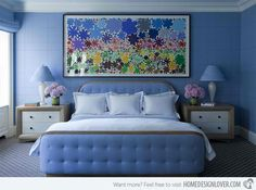 The Chic Technique: Blue-bedroom-design-floral-motifs-master-bedroom-ideas-modern-bedroom-design-concept blue-bedroom-design-floral-motifs-master-bedroom-ideas-modern-bedroom-design-concept Periwinkle Bedroom, Blue Bedroom, Farm Bedroom, Pretty Bedroom, Modern Bedroom Decor, Contemporary Bedroom, Contemporary Design, Awesome Bedrooms, Beautiful Bedrooms