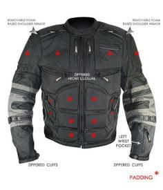 Amazon.com: Xelement CF5050 Mens Black/Grey Cordura Armored Jacket with Removable Sleeves - 3X-Large: Automotive