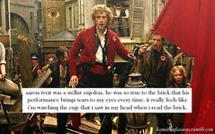 """"""" aaron tveit was a stellar enjolras. he was so true to the brick that his performance brings tears to my eyes every time. it really feels like i'm watching the enjy that i saw in my head when i read. Broadway Theatre, Musical Theatre, Les Miserables Funny, Hadley Fraser, 2012 Movie, Sad Movies, Aaron Tveit, Ramin Karimloo, Vulnerability"""
