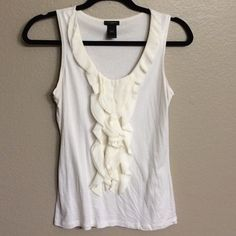 Ann Taylor Ivory Ruffled Tank Top 60% cotton 40% modal adorable tank, perfect for summertime! Can pair with printed bottoms for fun or even put under a blazer for work. Ann Taylor Tops Tank Tops