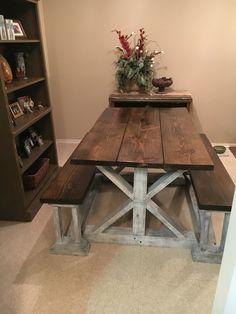 Farmhouse table plans & ideas find and save about dining room tables . See more ideas about Farmhouse kitchen plans, farmhouse table and DIY dining table Dining Table Bench Seat, Farmhouse Table With Bench, Kitchen Table Bench, Farmhouse Furniture, Dining Room Table, Wood Furniture, Country Furniture, Farmhouse Desk, Furniture Ideas