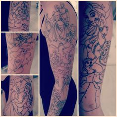 """My Disney sleeve part 1 <3 #disneytattoo #tattoo #disney "" I don't want a sleeve but I love hers"