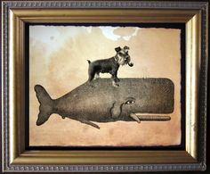 Mini Schnauzer Dog Riding Whale - Vintage Collage Art Print on Tea Stained Paper - Vintage Art Print by TeaStainedMadness on Etsy https://www.etsy.com/listing/213639409/mini-schnauzer-dog-riding-whale-vintage