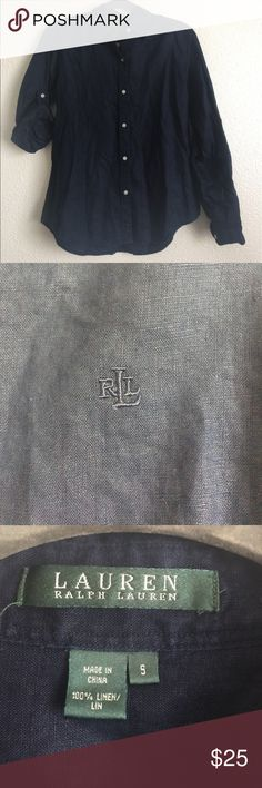 • Ralph Lauren Button Up • Dark blue 100% linen. No missing buttons, stains or rips. In excellent condition. Armpit to armpit is 19 inches. Length is about 25 inches. No stretch. Lauren Ralph Lauren Tops Button Down Shirts
