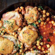 Pan-Roasted Chicken with Harissa Chickpeas Recipe: Super good, quick and easy. I significantly reduced the harrisa bc my current tube is quite spicy. I also added kale.