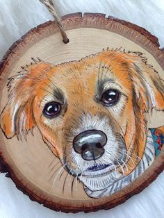 Wood Slice Crafts, Wood Burning Crafts, Wood Burning Patterns, Wood Painting Art, Acrylic Painting Techniques, Dog Paintings, Small Paintings, Art Inspiration Drawing, Custom Dog Portraits