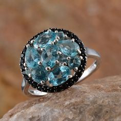 Madagascar Paraiba Apatite and Thai Black Spinel Ring in Platinum Overlay Sterling Silver (Nickel Free)