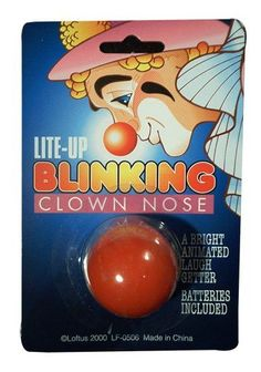 Lite-up Blinking Clown Nose by Loftus. $6.23. Great costume accessory. A bright, animated laugh getter. Batteries included. To operate, turn on the switch inside the nose. To preserve the battery, turn off when not in use.