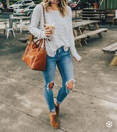 "4,206 Likes, 27 Comments - Olivia • LivvyLand (@livvylandblog) on Instagram: ""Stripes & distressed denim...❤️This bag was probably my favorite purchase of 2017, it's that…"""