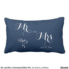 Mr. and Mrs. Customized Blue Wedding Pillows