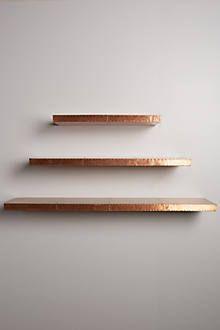 Metal gold floating shelves