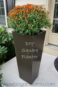 tall square planters a diy tale andiamo Tall Planter Boxes, Tall Outdoor Planters, Diy Planter Box, Large Planters, Concrete Planters, Planter Ideas, Mum Planters, Planters Flowers, Concrete Wood