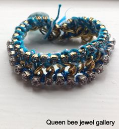 blue and brass vintage cup chain bracelet by queenbeejewelgallery, $27.85