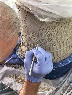 Ceramic sculpture by Gene Dodak.  www.genedodak.com #GeneDodak #clay #ceramic #CeramicArtist #ceramicart #sculpture #art #handbuilt #handmade #TribalHeads #Tiki #Totem #PalmSprings