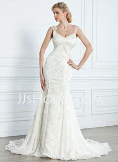 Wedding Dresses - $216.99 - Mermaid V-neck Watteau Train Chiffon Lace Wedding Dress With Beadwork (002005314) http://jjshouse.com/Mermaid-V-Neck-Watteau-Train-Chiffon-Lace-Wedding-Dress-With-Beadwork-002005314-g5314