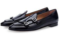 POLISHED LEATHER DOUBLE-MONK BELGIAN LOAFERS