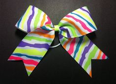 Neon Striped Cheer  Hair Bow by ShelbowsHairBows on Etsy, $7.00