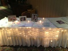 White, pink, and lace table