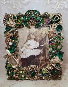 OOAK Handmade Repurposed Vintage Jewelry Decorated Jeweled - Before After DIY Costume Jewelry Crafts, Vintage Jewelry Crafts, Antique Jewelry, Irish Jewelry, Jewelry Frames, Jewelry Tree, Jewelry Box, Jewelry Storage, Copper Jewelry