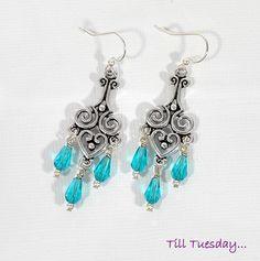 Teal chandelier earrings victorian long dangle earrings teal blue silver chandelier earrings small dangle earrings mozeypictures Images