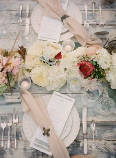 gorgeous rustic vintage table decor on rough wood tables...so cool.