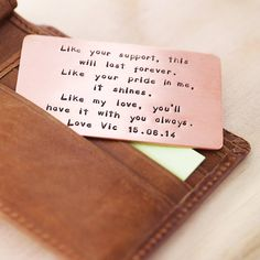 Love it!  Personalised Copper Wallet Insert Card from notonthehighstreet.com