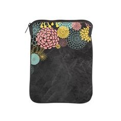 Chalkboard Illustration Modern Floral iPad Sleeve