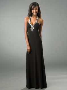 Floor Length Black Chiffon Diamantes Embellished Top Evening Gown
