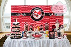 Rockabilly wedding candy buffet with cupcake tower wedding cake