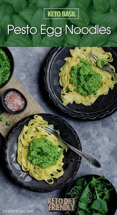 A healthy low-carb egg noodle pasta with basil pesto sauce that is ketogenic and easy to make. A heal Low Carb Lunch, Low Carb Dinner Recipes, Breakfast Recipes, Lunch Recipes, Basil Pesto, Pasta Recipes, Keto Recipes, Healthy Recipes, Food Recipes