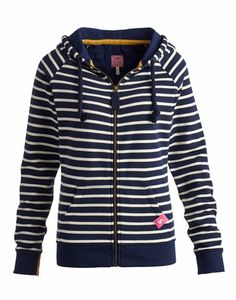 Joules null Womens Hooded Zip Sweat, Navstrp.                     A heavyweight hooded top, made for mornings when the sky is clear and the air is fresh. Perfect to pack for a weekend away. The contrast-lined hood adds to the cosiness of this cotton-rich classic