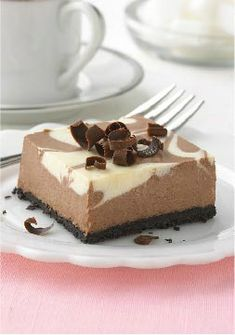 PHILADELPHIA Chocolate-Vanilla Swirl Cheesecake – This dessert sports impressively swirled chocolate and vanilla cheesecake—and, most impressive of all, it takes only 15 minutes of prep. Just marble-ous.