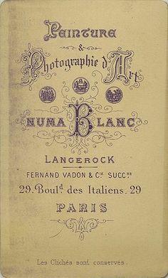 VADON Fernand & Cie, successeurs de LANGEROCK et NUMA BLANC -  Paris