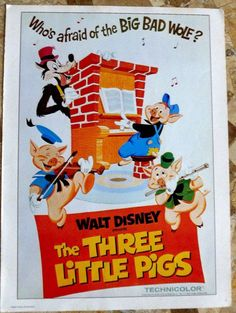 disney posters 1970 | Vintage+Disney+Poster+The+Three+Little+Pigs+by+VintageSchoolDays,+$9 ...