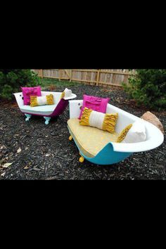 Reuse an old bathtub and make it lawn furniture or home furniture!!