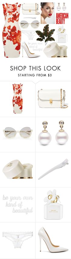 """Roses are red, violets are white :)"" by ladybates ❤ liked on Polyvore featuring Karen Millen, Valentino, Elizabeth Taylor, PBteen, Marc Jacobs, Fleur du Mal, Jimmy Choo and Home Decorators Collection"