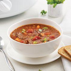 Soupe aux lentilles et au boeuf à la mijoteuse - Les recettes de Caty Courge Spaghetti, Sauce Tomate, Food, Instant Pot, Chicken Flatbread, Lentil Soup, Strawberries, Essen, Meals