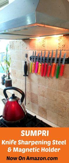 SUMPRI knife sharpening steel & magnetic hanger set. Now on Sale on Amazon.com    #sumpri #kitchen #knife #sharpening #steel #sharpener  #chef #magnet #magnetic #hanger #honing #rod #12 #inch #ceramic #edge #sharp