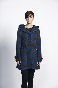 £90 Liquorish Blue Check Button Up Coat With Fur Rim Hood - New Women's Coat | Liquorish Clothing www.liquorishonline.com
