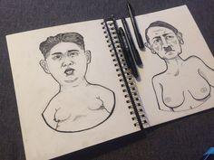 #ink #art #black #sketch #sketchbook #portrait #hitler #kim #dictators #politicians # hair #lines #stickers #draw #pens #drawing #artist #instagram