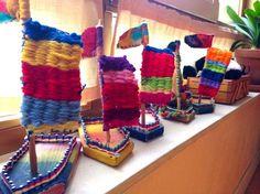 Free School Michael Bussum – class work - Do It Yourself Classroom Art Projects, Art Classroom, Projects For Kids, Crafts For Kids, Arts And Crafts, Weaving Textiles, Weaving Art, Hand Weaving, Weaving For Kids