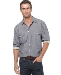 Weatherproof Shirt, Double Faced Chambray - Mens Casual Shirts - Macy's