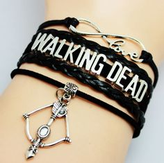 WALKING DEAD Cross Bow Charm Leather Infinity Black Bracelet #Unbranded #europeanLeatherbracelet