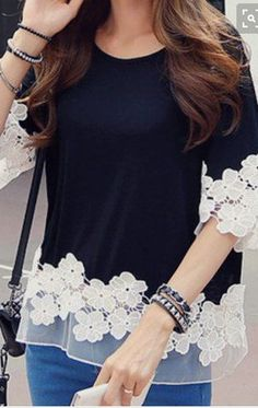 Sweet Style Round Collar Lace Splicing Waisted Corset Long Sleeve Women's T-Shirt - Kleidung Sweet Style, My Style, Diy Fashion, Ideias Fashion, Womens Fashion, Fashion Black, Fashion Dresses, Maxi Dresses, Fashion Fashion