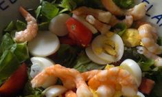 Garnalensalade - Slank Met LInda Weight Watchers Meals, Sushi, Shrimp, Paleo, Food And Drink, Health Fitness, Low Carb, Lunch, Healthy Recipes